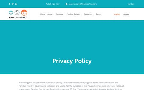Screenshot of Privacy Page familiasfirst.com - Privacy Policy - Familias First - captured June 5, 2017