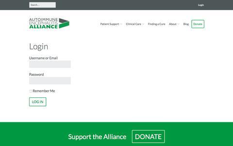 Screenshot of Login Page aealliance.org - Login - Autoimmune Encephalitis Alliance - captured Nov. 21, 2016