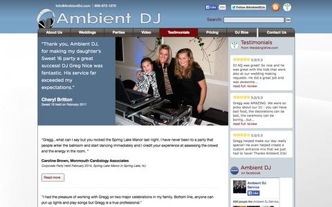 Screenshot of Testimonials Page ambientdj.com - Testimonials | NJ DJ - captured Oct. 4, 2014