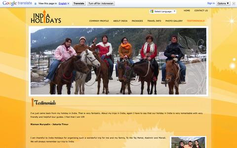 Screenshot of Testimonials Page indiaholidays.co.id - :: welcome to India Holidays :: - captured Sept. 30, 2014