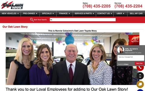 Screenshot of About Page oaklawntoyota.com - Our Oak Lawn Story - captured Aug. 11, 2016