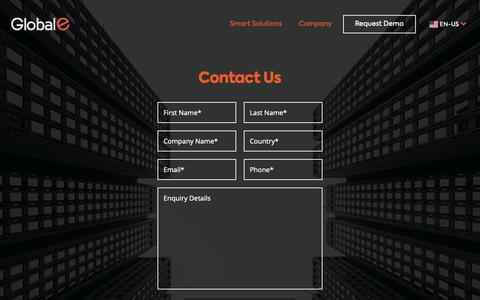 Screenshot of Contact Page global-e.com - Contact Us - Global-e - captured Sept. 29, 2018