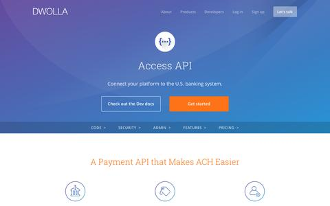 Screenshot of dwolla.com - Access API for ACH Payments - captured March 15, 2017