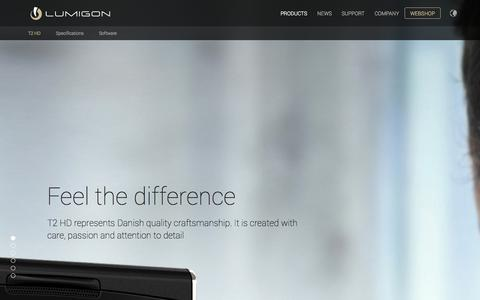 Screenshot of Home Page Products Page lumigon.com - Lumigon - feel the difference - captured Sept. 29, 2014