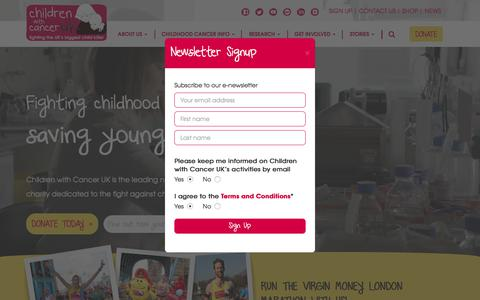Screenshot of Signup Page childrenwithcancer.org.uk - The Charity Fighting Childhood Cancer | Children With Cancer UK - captured Oct. 11, 2017