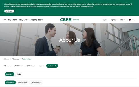Screenshot of Testimonials Page cbre.co.th - Testimonials | Bangkok Residential Sales Service | CBRE Thailand - captured Aug. 9, 2019