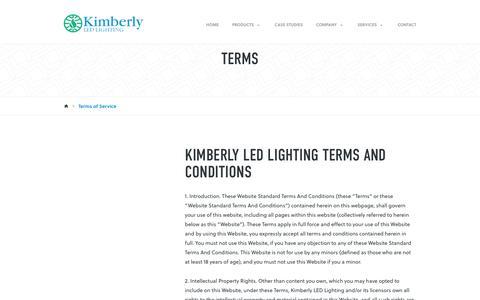 Screenshot of Terms Page kimberlyledlighting.com - Terms of Service - Kimberly Lighting - captured Sept. 20, 2018