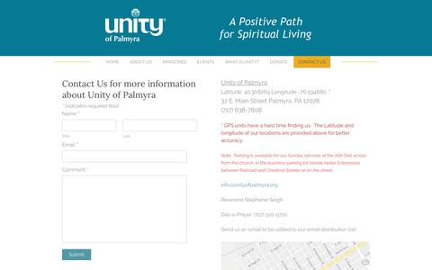 Screenshot of Contact Page unityofpalmyra.org - Contact Us - Unity Church - Palmyra, PAA Positive Path for Spiritual Living - captured Nov. 22, 2018