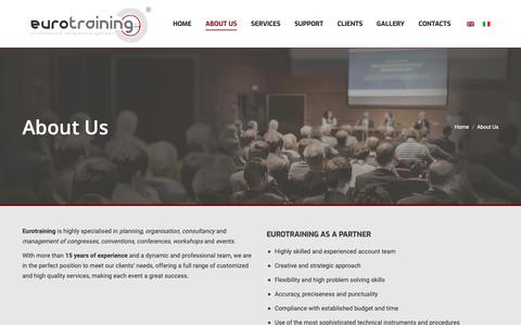 Screenshot of About Page eurotraining.it - About Us – Eurotraining - captured Sept. 29, 2018