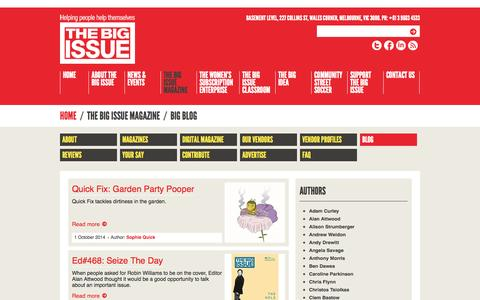 Screenshot of Blog thebigissue.org.au - Blog - The Big Issue - captured Oct. 7, 2014