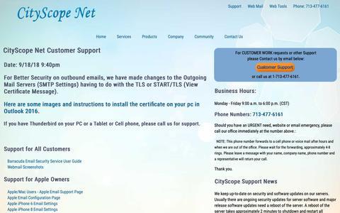 Screenshot of Support Page cityscope.net - CityScope Net | Customer Support - Helpful Information - captured Sept. 28, 2018