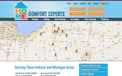 Screenshot of Locations Page homecomfortexpertsinc.com - Our Locations | Mishawaka | South Bend | Elkhart | Plymouth | Columbia City | Warsaw | Ft. Wayne | LaPorte | Indiana | Niles, Michigan | Home Comfort Experts - captured Jan. 31, 2016