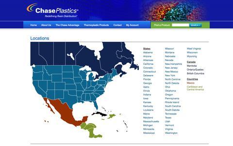 Screenshot of Locations Page chaseplastics.com - Chase Plastics  » Locations - captured Sept. 29, 2014