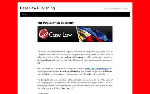 "Screenshot of Menu Page wordpress.com - Case Law Publishing | ""Be ahead of the rest of the Lawyers"" - captured Sept. 12, 2014"