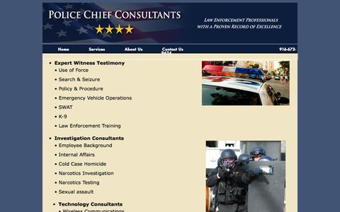 Screenshot of Services Page policechiefconsultants.com - Services - captured Oct. 3, 2014