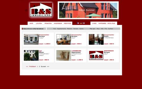 Screenshot of Locations Page bsimmo.lu - Immobilier - Ventes - Locations - Nouvelles constructions - captured Oct. 2, 2014