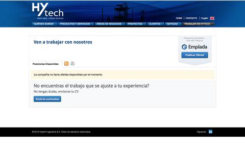 Screenshot of Jobs Page hytech.com.ar - Hytech | TRABAJAR EN HYTECH - captured May 24, 2017
