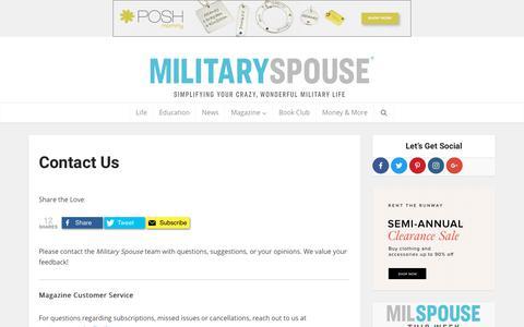 Screenshot of Contact Page militaryspouse.com - Contact Military Spouse! - captured Jan. 10, 2019