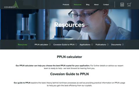 Screenshot of Support Page covesion.com - Covesion Ltd. - Support: PPLN Calculator, PPLN tutorial, Datasheets - captured Aug. 26, 2017