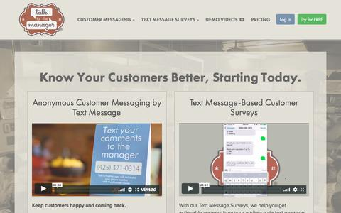 Screenshot of Home Page talktothemanager.com - TalkToTheManager - Real-time Anonymous Customer Feedback by Text Message - captured July 17, 2018