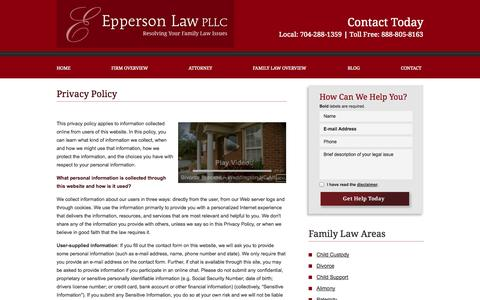 Screenshot of Privacy Page epplaw.com - Privacy Policy | Epperson Law PLLC | Weddington, North Carolina - captured Oct. 8, 2014