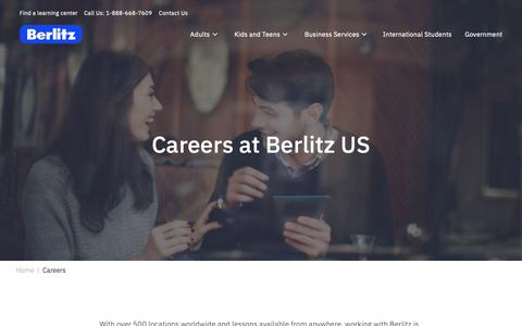 Screenshot of Jobs Page berlitz.com - Become a Language Teacher | Careers at Berlitz - captured Feb. 22, 2019
