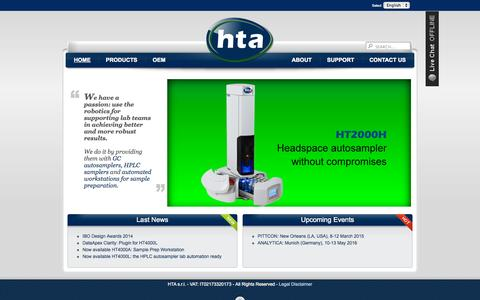 Screenshot of Home Page hta-it.com - HTA - Scientific Instruments - captured Oct. 1, 2014