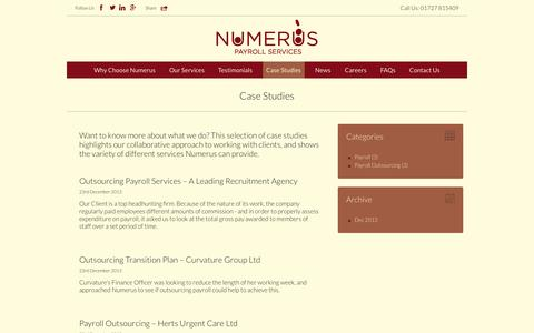 Screenshot of Case Studies Page numeruspayrollservices.co.uk - Case Studies Archive - Numerus Payroll Services - captured Oct. 26, 2014