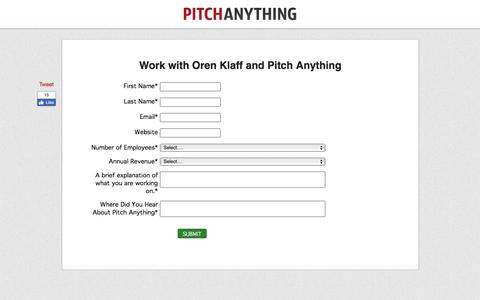 Screenshot of Contact Page pitchanything.com - Work with Oren Klaff and Pitch Anything - captured July 23, 2019