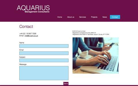 Screenshot of Contact Page aquariusconsultants.com - Contact Aquarius management consultants - captured Nov. 21, 2016