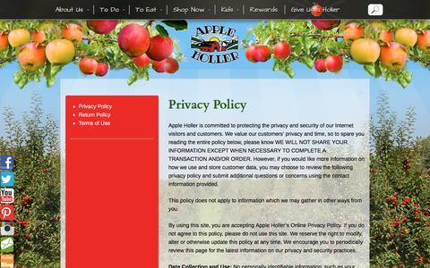 Screenshot of Privacy Page appleholler.com - Privacy Policy - Apple Holler - captured Nov. 21, 2016
