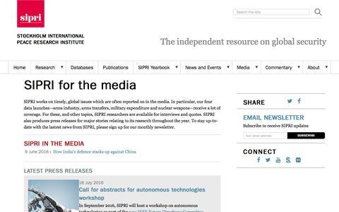 Screenshot of Press Page sipri.org - SIPRI for the media | SIPRI - captured July 19, 2016