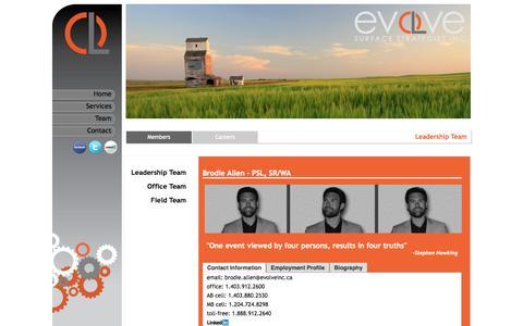 Screenshot of Team Page evolveinc.ca - evolve surface strategies - EvoOps Team - captured Oct. 3, 2014