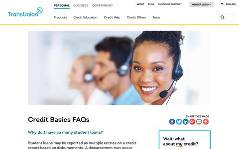 Screenshot of Support Page transunion.com - Credit Basics FAQs | TransUnion - captured Oct. 24, 2018