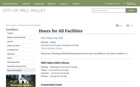 Screenshot of Hours Page cityofmillvalley.org - Mill Valley, CA - Hours for All Facilities - captured May 17, 2017