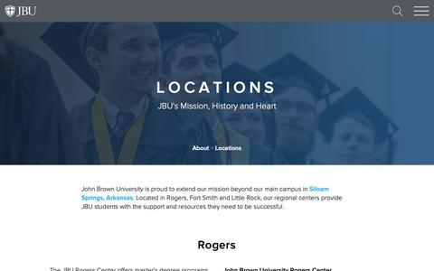 Screenshot of Locations Page jbu.edu - Locations - About - John Brown University - captured Oct. 22, 2018