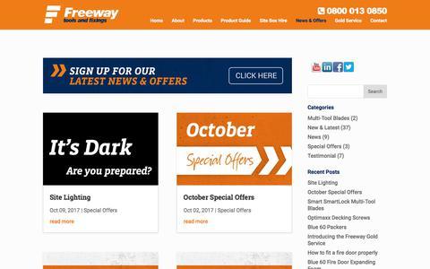 Screenshot of Blog freewayfixings.com - News & Offers - captured Oct. 14, 2017