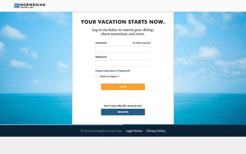 Screenshot of Login Page ncl.com - Cruises & Cruise Deals | Caribbean Cruise Vacations | Norwegian Cruise Line - captured Jan. 27, 2020