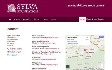 Screenshot of Contact Page sylva.org.uk - Sylva Foundation • contact - captured Oct. 6, 2014