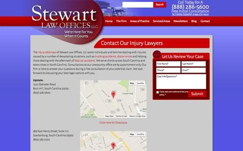 Screenshot of Contact Page stewartlawoffices.net - Contact Our Injury Lawyers - captured Nov. 4, 2014