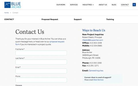 Screenshot of Contact Page bluearcher.com - Contact Us   Blue Archer - captured July 29, 2016