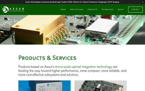 Screenshot of Products Page axsun.com - Products — Axsun Technologies - captured Nov. 3, 2018