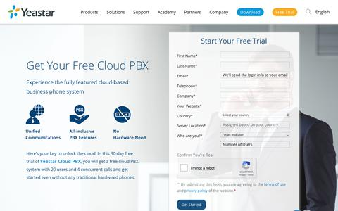 Screenshot of Trial Page yeastar.com - Free Cloud PBX & Unified Communications App | Yeastar - captured Dec. 8, 2018