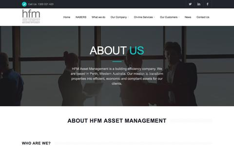 Screenshot of About Page hfmassets.com.au - About HFM Asset Management | Perth, Western Australia - captured July 8, 2017