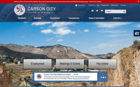 Screenshot of Home Page carson.org - Carson City : Home - captured June 29, 2016