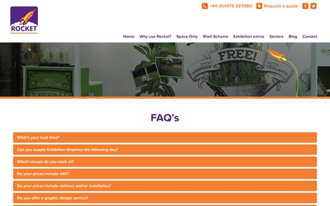 Screenshot of FAQ Page rocketprintpromotions.com - FAQ's for Exhibition design : Rocket - captured Feb. 15, 2016