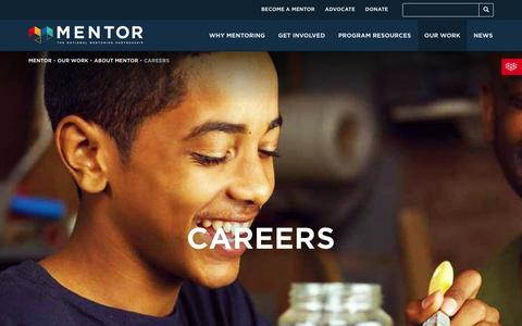 Screenshot of Jobs Page mentoring.org - Careers - MENTOR - captured Feb. 3, 2016