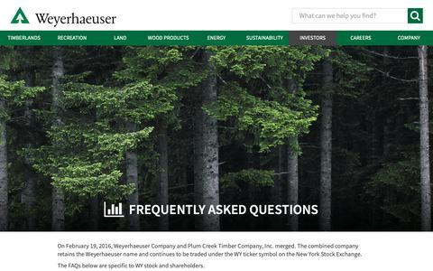 Screenshot of FAQ Page weyerhaeuser.com - Weyerhaeuser Investor Relations - Frequently Asked Questions - captured Feb. 23, 2019