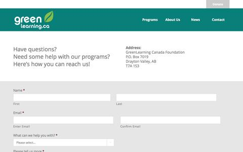 Screenshot of Contact Page greenlearning.ca - Contact - Green Learning - captured Sept. 26, 2016