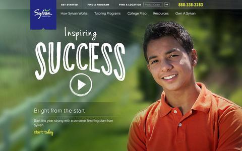 Screenshot of Home Page sylvanlearning.com - Math Tutoring Programs, Reading Tutors & Test Prep | Sylvan Learning - captured Sept. 25, 2014
